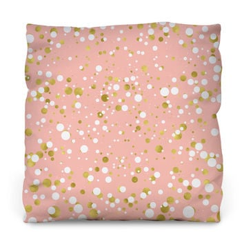 Gold and White Confetti Throw Pillow