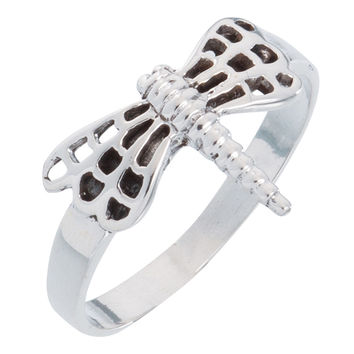 Dragonfly With Rounded Wings Sterling Silver Ring