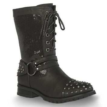 Gia-Mia Sequin Chic Women's Biker Boots (Black)