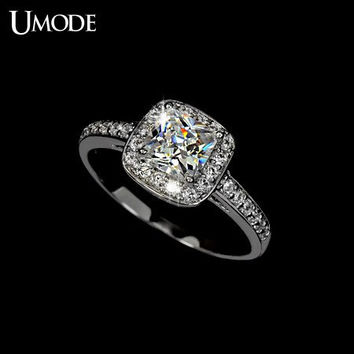 Cubic Zirconia Engagement Ring CZ Engagement Ring Princess Cut Diamond Ring Silver Ring Halo Engagement Ring Wedding Ring Anniversary Ring