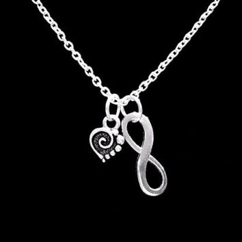 Spiral Heart Valentine Gift Love Wife Girlfriend Mom Infinity Necklace