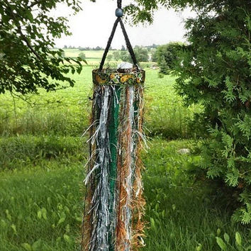 Boho Fun Fur Mobile, Bohemian Hippie Fringe Yarn Home Decor, Gypsy Wedding Decoration, Green Blue Black & Rust Ceiling Hanging, 2 Available