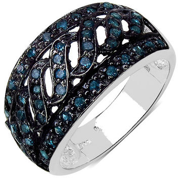 0.54 Carat Genuine Blue Diamond .925 Sterling Silver Ring