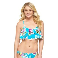 Light Blue Tropical Print Hipster Bikini Bottom L - Xhilaration