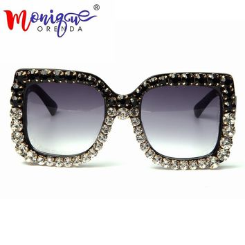 732c86a8c60 Summer Sunglasses Women Brand Designer Retro Sunglasses Rhinesto