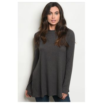 Cozy Me, Silky Soft Ribbed Knit Charcoal Sweater