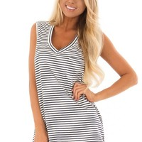 Cream and Navy Striped Tank Top with Chest Pocket
