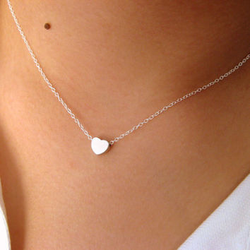 Little Dainty Sterling Silver Necklace with Little Heart matt rhodium plated - charm necklace - pendant necklace - choker necklace
