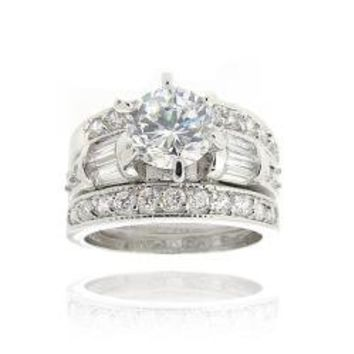 Icz Stonez Rhodiumplated Cubic Zirconia 3ct TGW Bridal Ring Set | Overstock.com