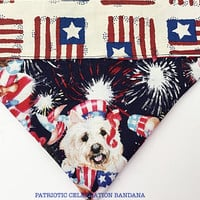 "Reversible Patriotic Dog Bandana Memorial Day and 4th of July- ""Celebration"""