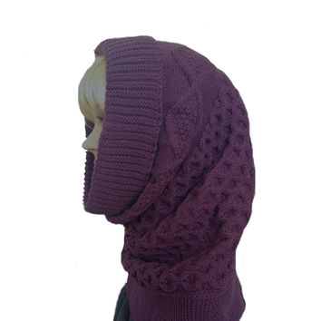 Hooded Cowl Scarf for Winter - Knitted Women's Warm Snood