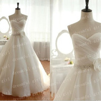Sweetheart sleeveless Ball gowns with sashes and sequins and flowers pleated wedding dresses