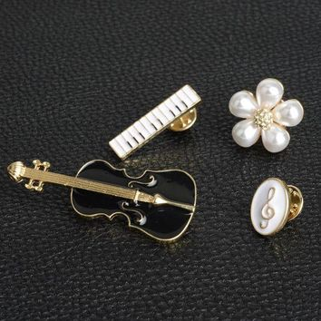 ac spbest novel design violin piano 4pcs/set suite badge bead flower music symbol mini brooches pin rooches For Women shirt