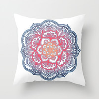 Radiant Medallion Doodle Throw Pillow by Micklyn