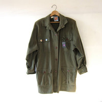 Vintage Oversized Army Green Jacket. Green Parka jacket. Grunge Punk. Outback oversized shirt jacket.