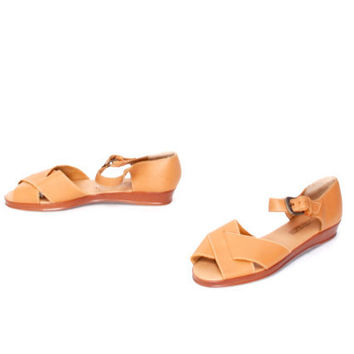 size 7.5 STRAPPY tan leather 80s BUCKLE peep toe WEDGE sandals
