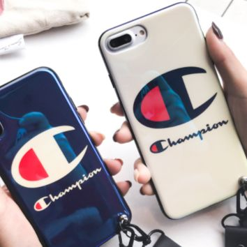 The new blue-ray mobile phone case of the male champion iPhone7plus silicone 8 popular logo X couple with the 6s girl.