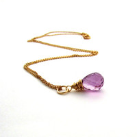 Amethyst necklace, February birthstone, wire wrapped necklace, light purple amethyst pendant, lavender amethyst jewelry, radiant orchid