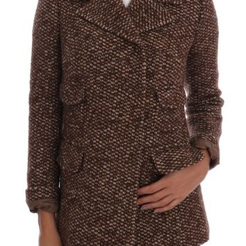Brown Wool Tweed Double Breasted Jacket