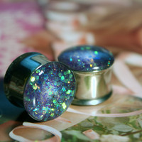 Lilac Glitter Stainless Steel Plugs