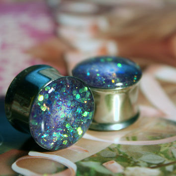 Lilac Glitter Stainless Steel Plugs 7/8th+