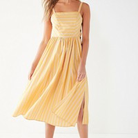 UO Kaye Square-Neck Button-Down Midi Dress   Urban Outfitters