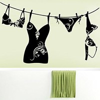 Bathroom Wall Decal Laundry Room Girl's Girl Underwear Removable Stickers Vinyl Wall Decor Sticker Wall Art Home Decor Bedroom C539