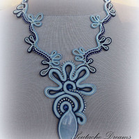 Elegant Agate Necklace Blue Lagoon Blue Soutache Necklace
