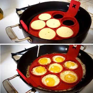 Silicone Pancakes Mold Perfect Nonstick Omelette Mould Pancake Maker 4/7/10 Holes Round Heart Pattern Egg Ring Maker