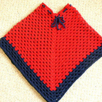 ON SALE  Red & Navy Crocheted Girl's Poncho by ACCrochet on Etsy