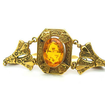 Gold Filled Victorian Bracelet Large Topaz or Citrine Glass Jewel Floral Vine Links Antique Revival Style Vintage Fashion Jewelry