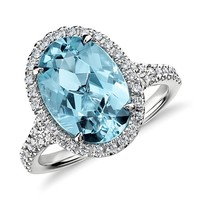 Aquamarine and Micropavé  Diamond Halo Ring in 18k White Gold (3.90 ct)
