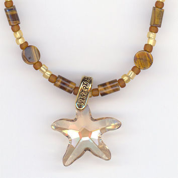 Crystal Star Pendant Tiger Eye Bead Necklace Golden by Lehane