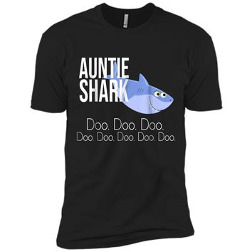 """Auntie Shark"" Baby Mommy Daddy Matching Family Shark  Next Level Premium Short Sleeve Tee"