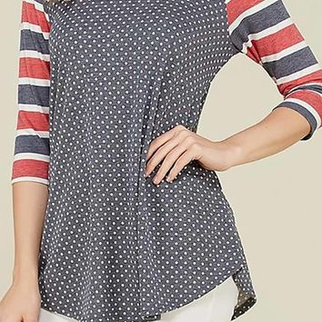 Boat Neck Stripe and Polka Dot Mix Print Relaxed Tunic Top