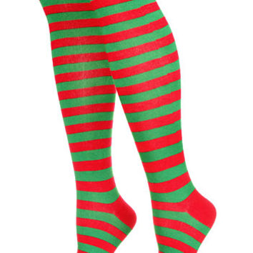 Elf Striped Knee High Socks