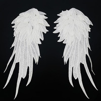 1Pair Black White Embroidered Angel wings Lace Fabric Shoulder Venise Lace Sewing Applique DIY Halloween costume decorationRS794