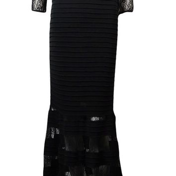 JS Collection Women's Illusion Lace Pintucked Jersey Gown