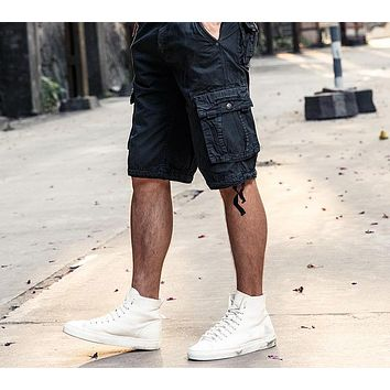 Men's Cargo Work Casual Shorts Men Fashion Joggers Overall Squad Match Calf Length Wear