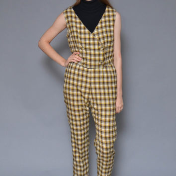 60s PLAID crop top pantsuit // yellow black tartan checkered double breasted mod TWIGGY button up vest high waist trousers tapered pants