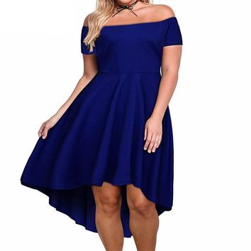 siren Plus Size Sexy Off The Shoulder Dress  Asymmetrical retro Vintage Party Mid-calf A-line Black,green,purple,navy blue,wine red