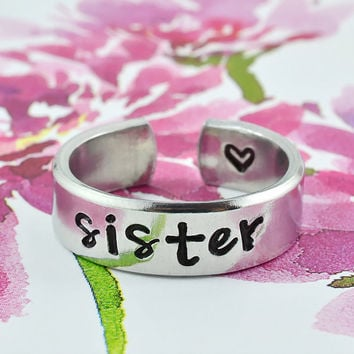 Sister Ring, Sisters Best Friends Aluminum Cuff Rings, Love Sisters Jewelry, Best Friends BFF Ring, Sisters Jewelry, Personalized Jewelry