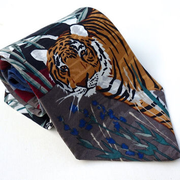Vintage World Wildlife Fund Tie,Tiger & Giant Panda Tie,Silk Tie, 1993 WWF® Endangered Species Tie,Novelty Tie,Made in USA,Collectible Ties