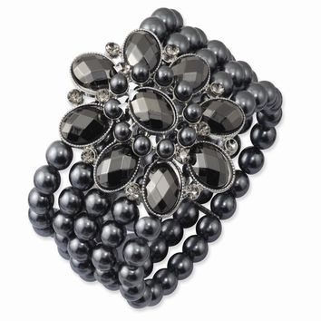 Black-plated Black and Hematite Acrylic Beads Stretch Bracelet