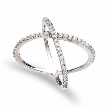 Gold Zirconia X Cross Ring Adjustable 925 Sterling Silver