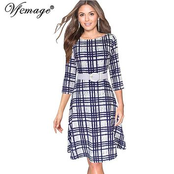 Vfemage Womens Elegant Vintage 3/4 Sleeves Tartan Belted Casual Work Business Party Fit and Flare Swing Skater A-Line Dress 6601