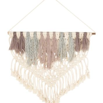Macramé Angled Fringe Boho Wall Hanging Decor in Blush Neutrals