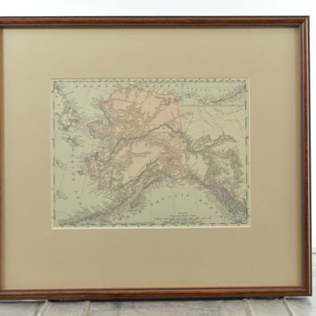 Vintage Colored Map of Alaska Matted & Framed