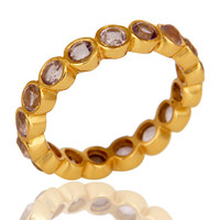 18K Gold Plated Sterling Silver Amethyst Ring Gemstone Band