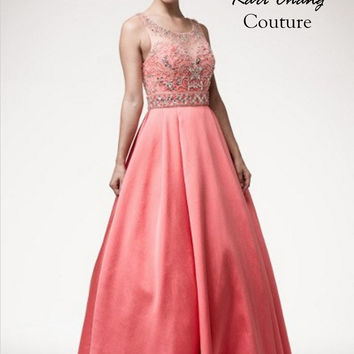Kari Chang KC50 Coral Jeweled Princess Ball Gown Prom Dress